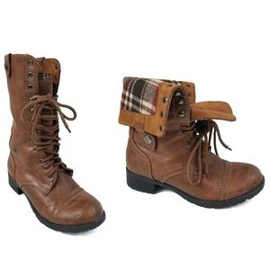 Soda Brown Fold Over Flannel Lined Combat Boots 7